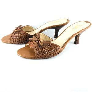 Franco Sarto whiskey brown Battle leather sandals